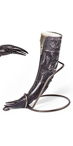 """Special Edition 15"""" Polished Raven Carved Viking Drinking Horn w/ Brass Stand"""