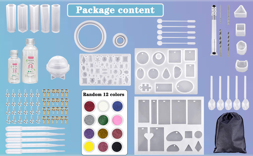 with Measuring Cups Screw Eye Pins Droppers Stirrers Spoons YAOYIN Epoxy Resin Moulds and 100g Resin Silicone Casting Kit for Jewellery Making and DIY Craft