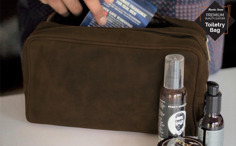 premium quality genuine Vintage Leather Toiletry Bag Men Shaving cosmetics Dopp Kit Travel gifts
