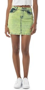 neon denim skirt, denim mini skirt, jean skirt, neon jean skirt
