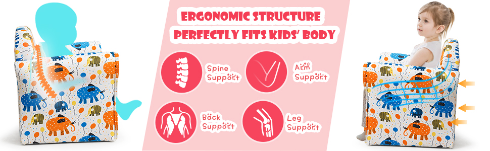ergonomic structure perfectly fits kids