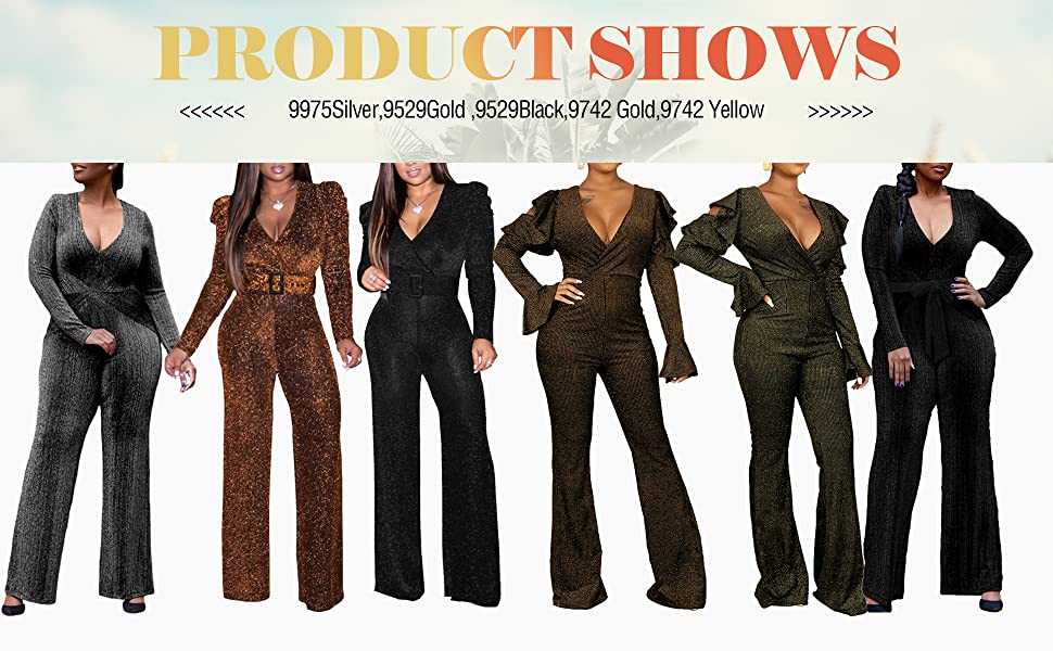 Women's Sexy Long Sleeve Jumpsuits Elegant Clubwear Deep V Neck Rompers with Belt