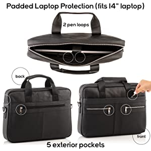 "Padded briefcase laptop protection fits 14"" laptop with 5 exterior pockets and high quality zippers"