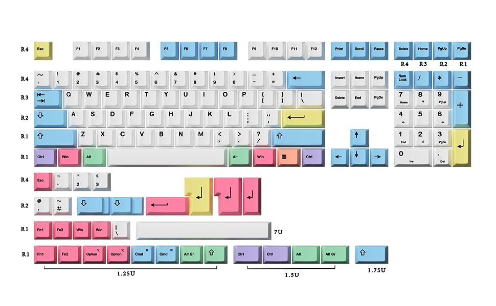 HK Gaming Dye Sub PBT Keycaps Chalk Thick Key set