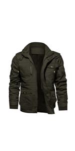 black jacket mens military style padded jacket fleece military jacket men's winter fleeced