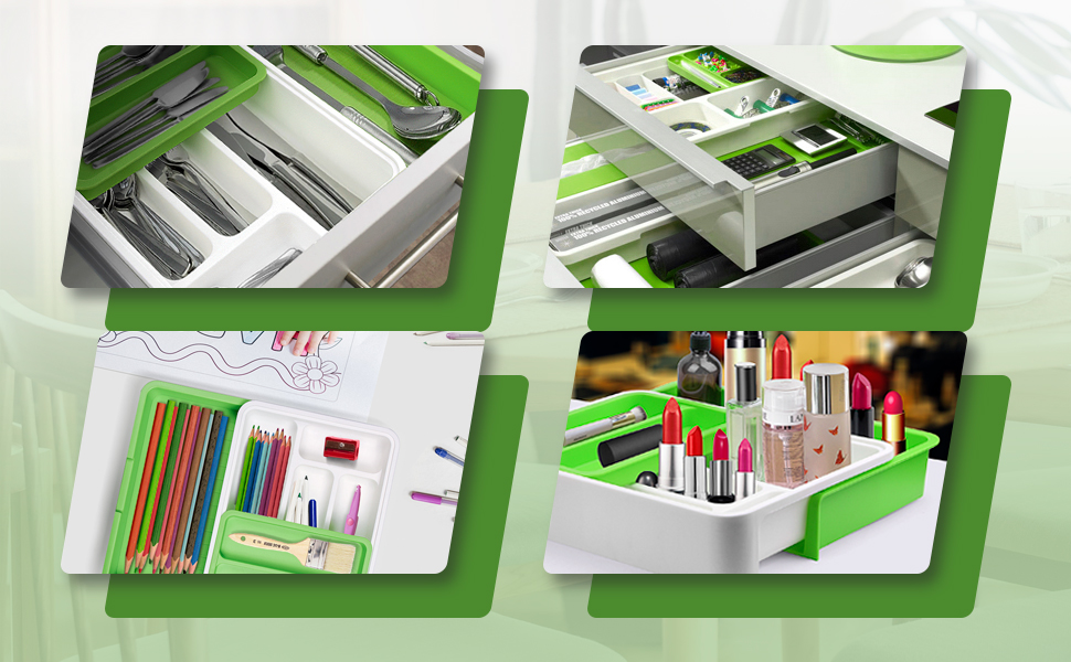PP 7 Slots Drawer Dividers for Flatware, Bedroom, Living Room,Office, Bathroom Supplies-BPA Free