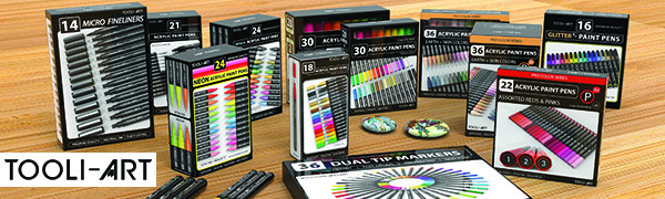 TOOLI-ART pens with rocks stones painted with acrylic paint pens.TOOLI-ART is seller of art supplies