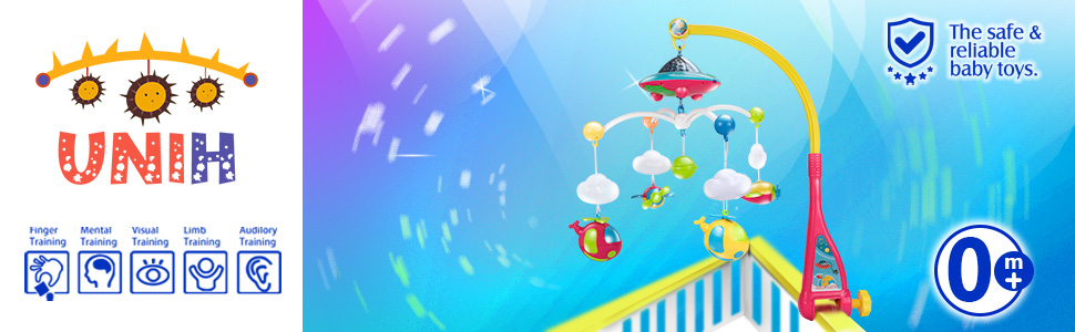 Baby Mobile for Crib with Lights and Music Infant Bed with Rotating Toys for Boys Girls 0-12 Months