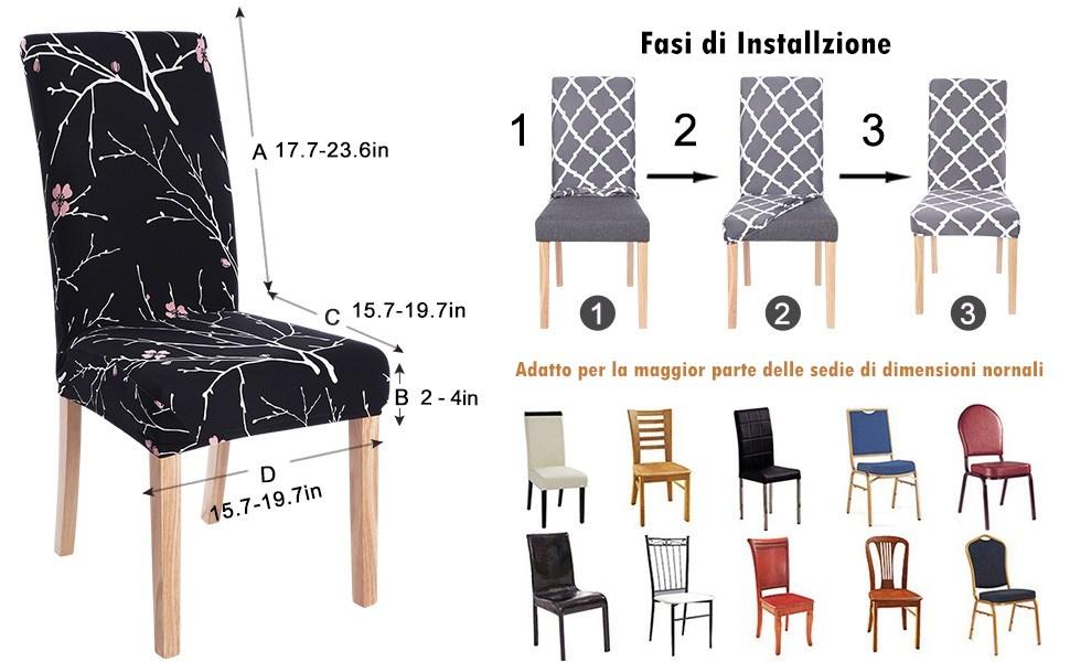 Coprisedie con Schienale Elasticizzato Universale Copri Sedie Sala da Pranzo 4 Pezzi per Soggiorno Hotel Arredamento Ristorante,Lavabile