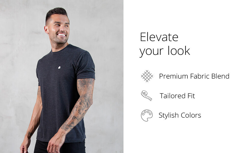 INTO THE AM men's basic tees elevate your look premium fabric blend tailored fit stylish colors