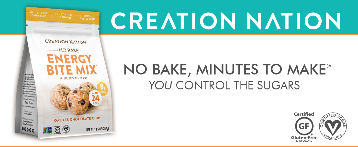 Creation Nation Gluten Free Vegan Dairy Free No Bake Protein Energy Bar Bites