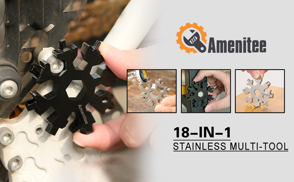 Amenitee 18-in-1 stainless steel snowflakes multi-tool