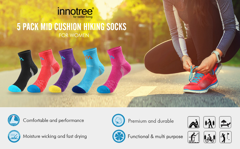 innotree 5 pack micro crew hiking socks