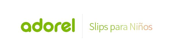 El logo de Adorel en verde y slips para niños en degradado.