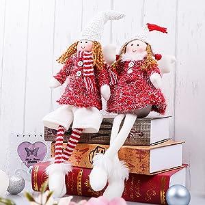 Valery Madelyn 2Pcs Adornos de Navidad de Angeles Figuras, 16cm Decoracion Muñeca de Navidad Sentado Figura de Hadas, Rojo y Blanco Figurillas de ...