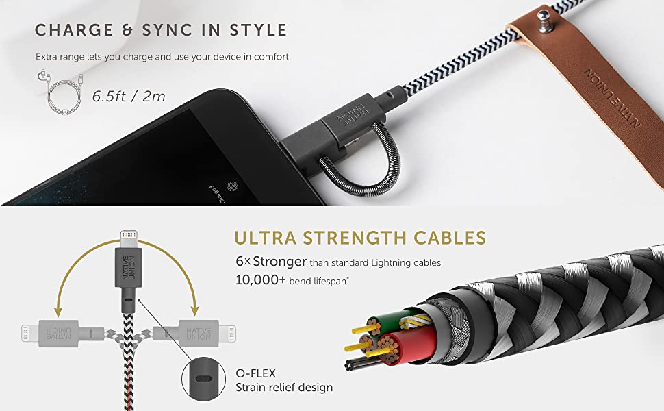 Native Union Belt Cable Unverisal 6.5ft 2m Ultra Strength 3-in-1 adapter type c micro usb