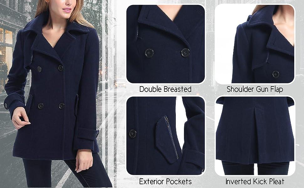 BGSD Women's Wool Coat Features
