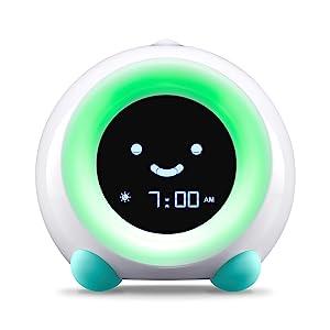 Arctic Blue MELLA Sleep Trainer on Wake Mode with Green Light