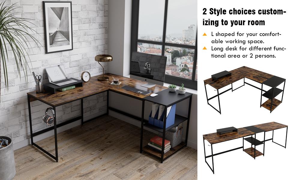 L shaped Desk or 2 person long desk