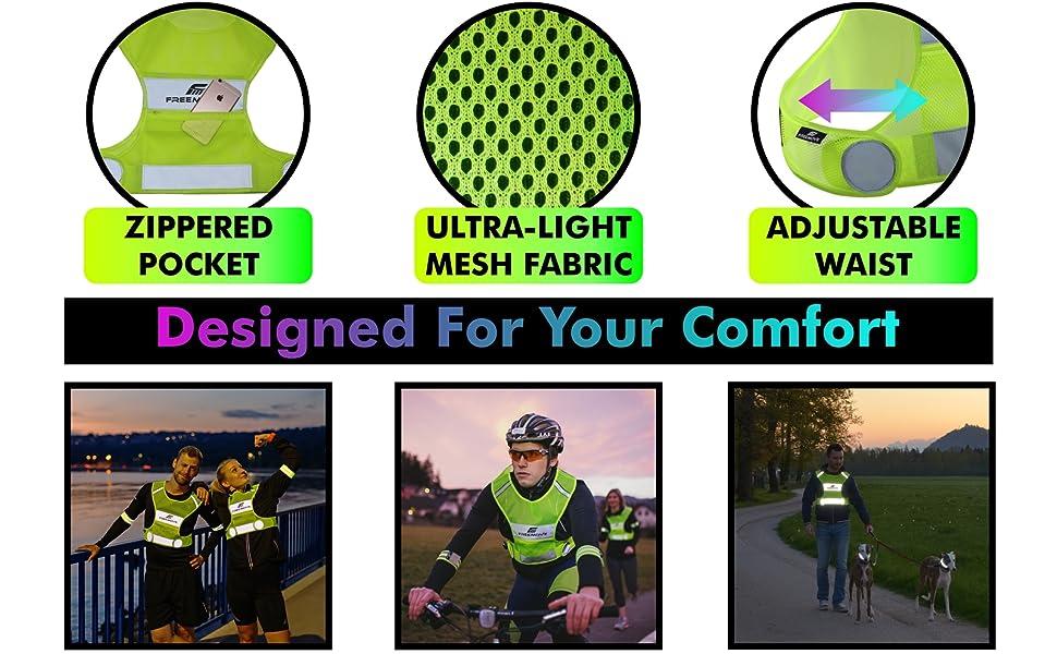 FREEMOVE running vest cycling gear dog walking vest reflective gear mtb biking hi viz safety vest