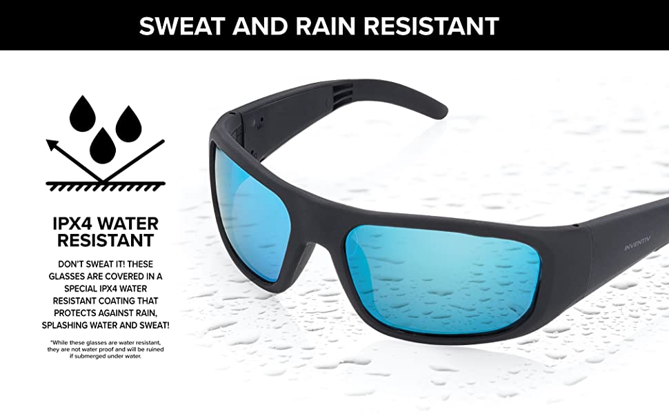 Bluetooth Sunglasses with speakers water resistant rating of IPX4