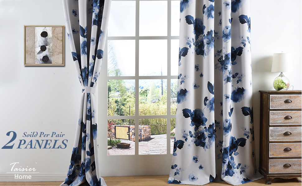 Chinese Traditional Ink Painting Stylized Leaves and Flower,Artwork,Deep Blue Print Curtains for Living Room Bedroom and Nursery Taisier Home 84 Inch Grommet Blackout Window Curtain Drapes