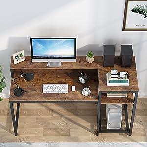 Bureau d'ordinateur avec Etagère de Rangement