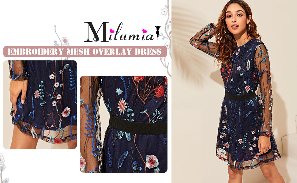 Milumia Women's Floral Embroidery Mesh Round Neck Tunic Short Party Dress