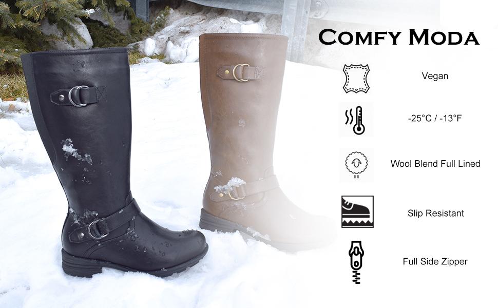 Comfy Moda Women's Wide-Calf Wool-Lined
