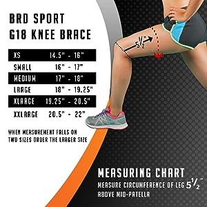 knee measurement size chart