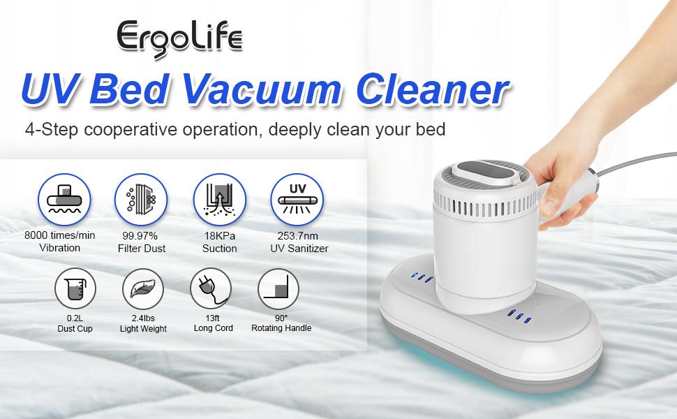 The IDEER LIFE cord UV mites vacuum equipped with 350-watt high-power motor