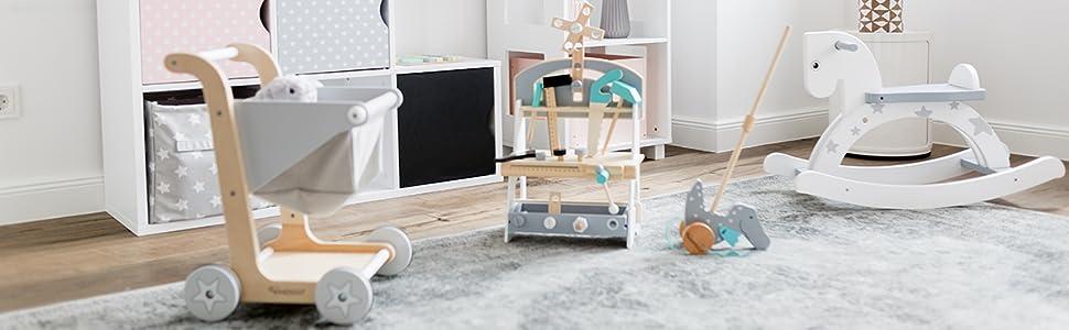Kindsgut Wooden Step Stool Light Grey 2 Steps