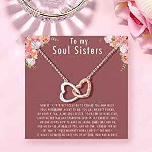 Soul Sister Necklace, Soul Sisters Gifts, Best Friend BFF Necklace for Women Unbiological Sister