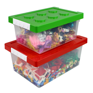 Bins & Things Toy Storage Organizer, Toy Storage Bins, Large And Small Lego Brick Shaped Containers