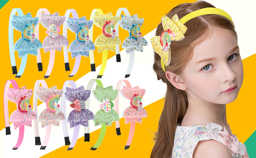 3Pcs Kids Cute Elastic Sequin Bowknot Headband Girls Hairband C1MY