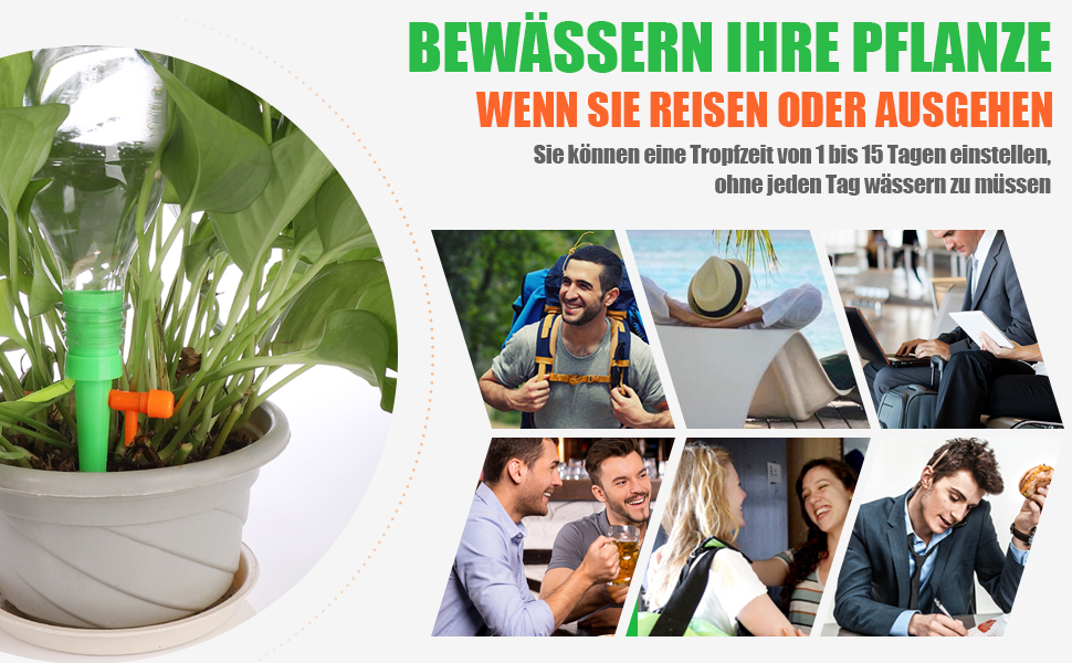 2019 UPGRADE Pflanzen Bew/ässerungssystem mit Einstellbar/Ventil und Anti-Fall Halterung,Bew/ässerung f/ür Topfpflanzen Passend f/ür die meisten Flaschen 18 St/ücke Automatisch Bew/ässerung Set