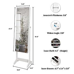 A+ - 2-3 - Bonnlo freestanding jewelry armoire