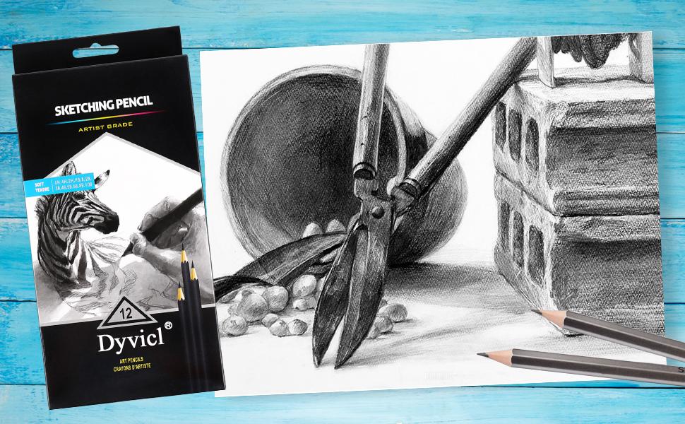 drawing pencils, graphite pencils, sketching pencils 6H, 4H, 2H, HB, B, 2B, 3B, 4B, 5B, 6B, 8B, 10B