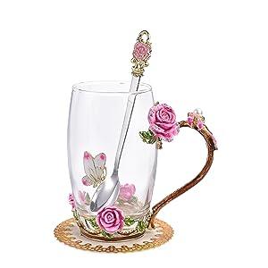pink rose teacups coffee mugs