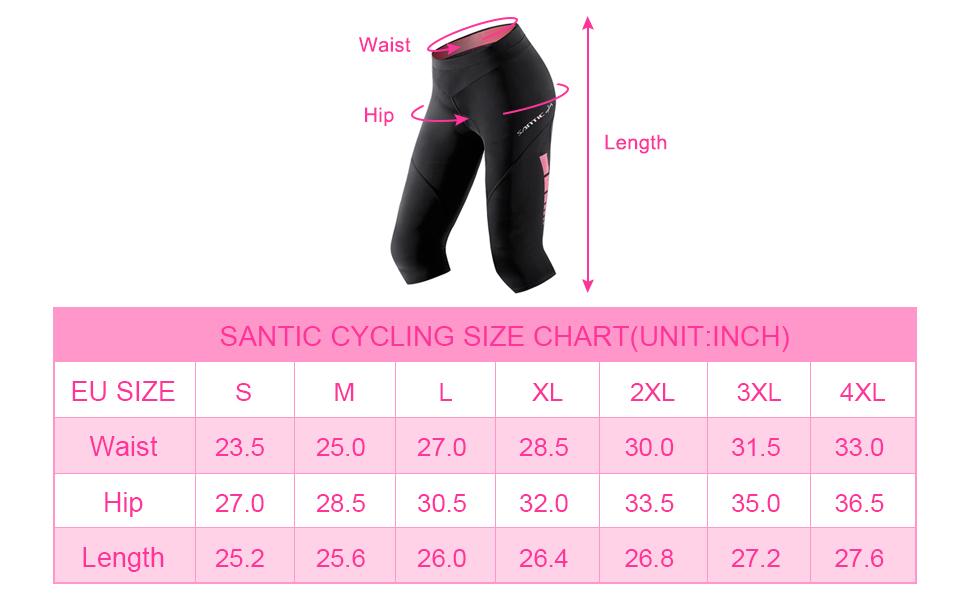 Santic Culote Bicicleta Mujer 3/4 Culotes Ciclismo Culote MTB ...