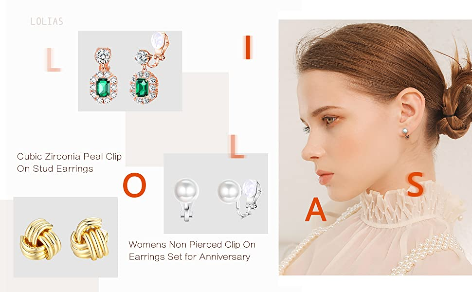 Clip Earrings Sets for Women Rose Flower CZ Simulated Pearl Twist Gold Knot Clip Earrings