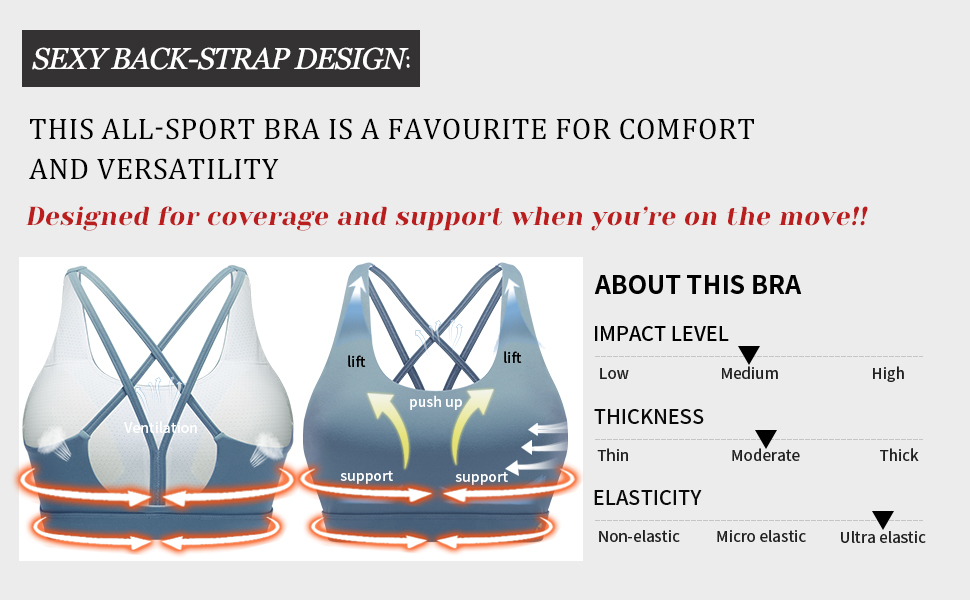This stylish sport bra is great for wearing under workout shirts as well as non-workout wear