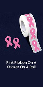 Pink Ribbon On A Sticker On A Roll