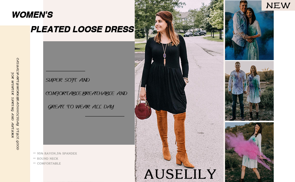 HINK Dress For Woman,Women Casual Solid Dress Pocket Strap Long Loose Big Swing Dress,Evening Dress For Woman Uk