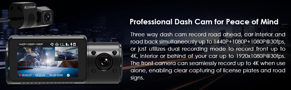 three way dash cam