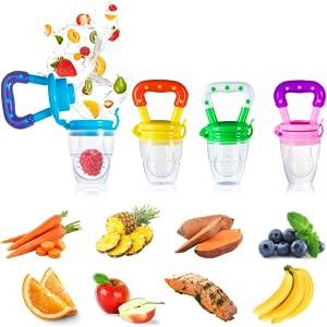 4pcs Chupetes Chupetes para Alimentos de Frutas S/M/L + 1pcs Cadena de Chupete + 2pcs Cepillos de Dedo para Bebés + 2 Cucharas de Alimentador para ...