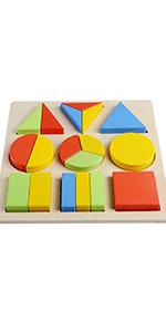 Wooden Toys Montessori Color Math Shapes Geometric Puzzles