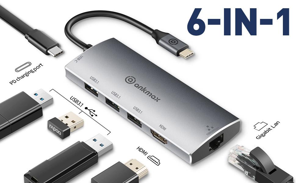 USB C HUB 6-IN-1