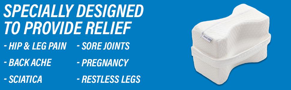 Sarjon Knee Pillow Pain Relief Back Leg Pregnancy Sciatica Joints Restless Legs