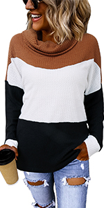 cowl neck waffle knit tops